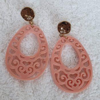 Boho oorbellen goud roze 2