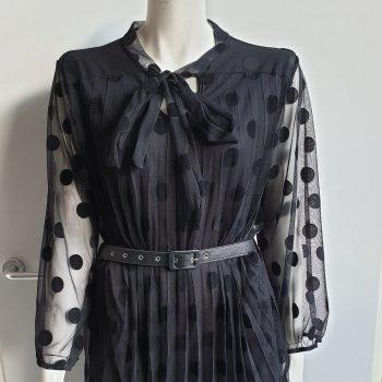demi dots jurk zwart