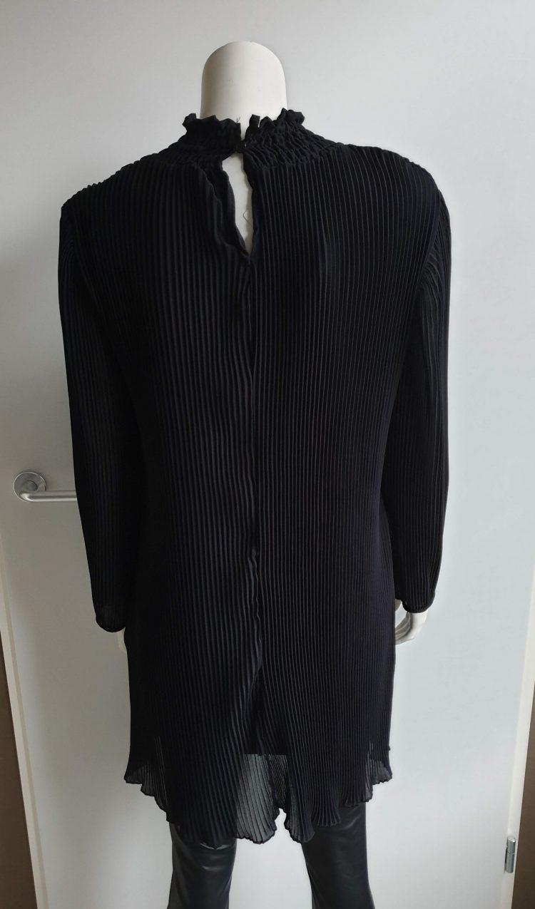 plisse col jurk zwart