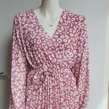 panter plissé jurk wit