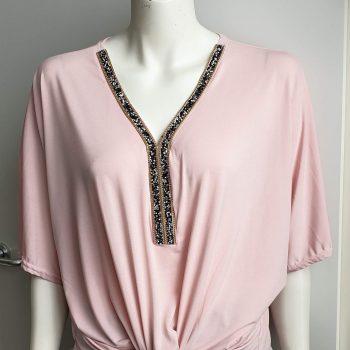glitter knoop top roze