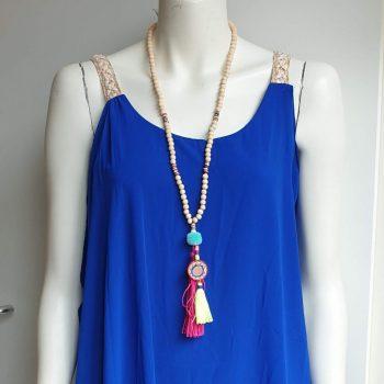 brede vlecht jurk kobalt blauw