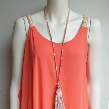 brede vlecht jurk koraal